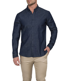 Athletic Fit Casual Shirt Denim