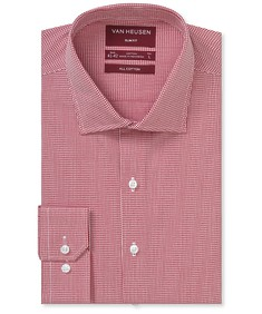 Slim Fit Shirt Red Small Dobby Check
