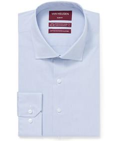 Slim Fit Shirt Blue Vertical Self Stripe