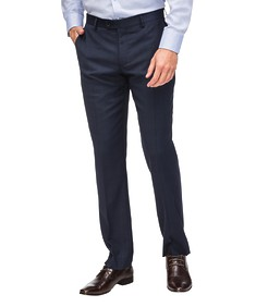 Euro Tailored Fit Suit Pant Navy Glen Check