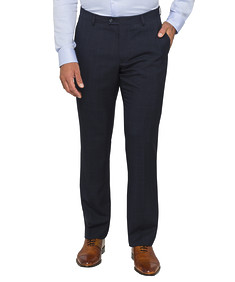 Euro Tailored Suit Pant Navy Window Check