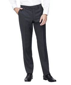 Euro Tailored Suit Pant Charcoal Textured