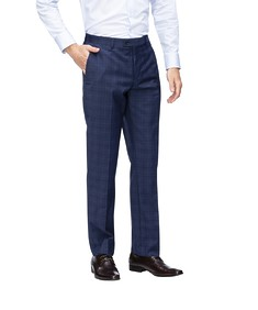 Euro Tailored Fit Suit Pant Navy Window Pane Check