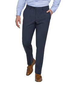 Black Label Euro Tailored Fit Suit Pants Navy Check