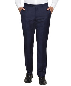 Euro Tailored Fit Suit Pant Navy with Ox Window Check