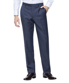Euro Tailored Fit Suit Pant Navy Brown Check