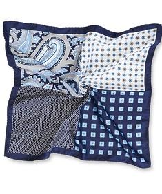Pocket Square Navy Tones Four Square