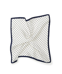 Mens Pocket Square White with Navy Dots and Trim