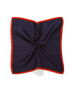 Mens Pocket Square Navy with Red Dots and Trim