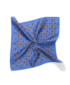 Mens Pocket Square Blue Paisley