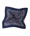 Mens Pocket Square Navy and Pink Paisley