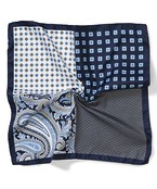 Pocket Square Navy Four Way Printed
