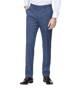 Slim Fit Suit Pant Blue Textured