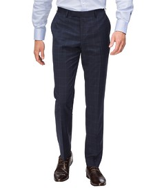 Slim Fit Suit Pant Navy Blue Window Pane Check