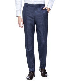 Slim Fit Suit Pant Navy with Ox Check