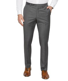 Black Label Slim Fit Suit Pants Grey Pin Stripe