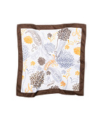 Pocket Square White with Brown Grey Floral