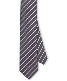 Neck Tie Grey + Pink Diagonal Stripe