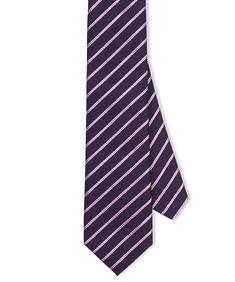 Neck Tie Navy Mauve Diagonal Stripe