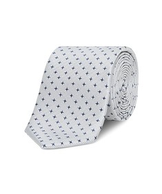 Neck Tie Silver with Blue Stars
