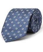 Tie Navy Wash with Floral Design