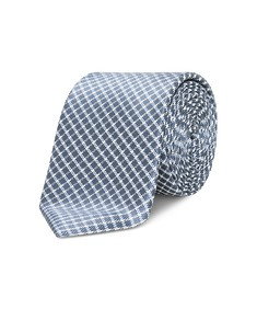Neck Tie Blue Box Plaid