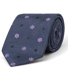 Tie Navy with Purple Flowers