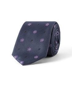 Tie Navy with Purple Flowers