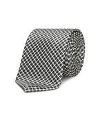 Neck Tie Dark Grey Box Plaid