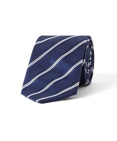 Tie Navy Diagonal Dual Stripe