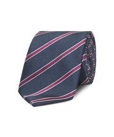 Neck Tie Deep Navy with Pink Diagonal Stripe