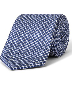 Tie Navy White Diamond Check