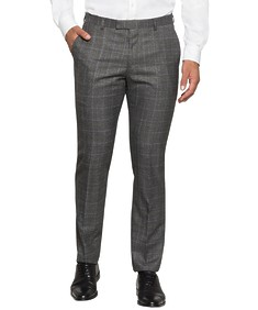 Super Slim Fit Suit Pant Charcoal Window Check
