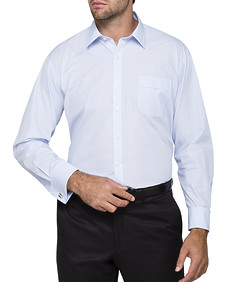 Mens Classic Fit Shirt Blue Self Stripe