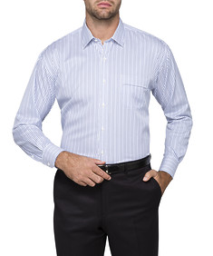 Mens Classic Fit Shirt Blue Two Tone Stripe