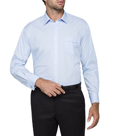 Mens Classic Fit Shirt Blue Poplin