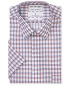 Classic Relaxed Fit Short Sleeve Shirt Red Dobby Check