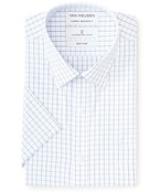 Classic Relaxed Fit Short Sleeve Shirt Blue Check
