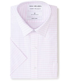 Classic Relaxed Fit Short Sleeve Shirt Dusty Pink Gingham