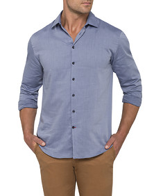 Mens Casual Shirt Navy Dobby