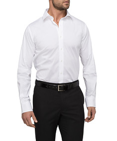 Mens Euro Fit Shirt Solid White Stretch
