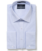 Mens Euro Fit Shirt Blue and White Thin Stripe