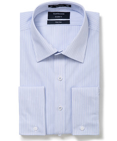 Mens Euro Fit Shirt Blue and White Thin Stripe