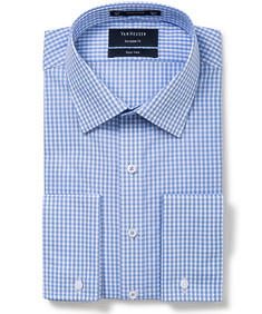 Mens Euro Fit Shirt Blue and White Check