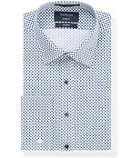 Mens Euro Fit Shirt White with Navy Tear Print