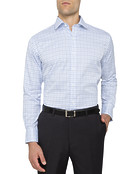Mens Euro Fit Shirt Blue Plaid Check