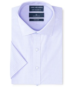 Euro Tailored Fit Short Sleeve Shirt Mauve Check