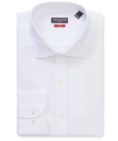 Slim Fit Shirt White Self Diamond