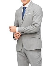 Slim Fit Suit Jacket Light Grey Textured