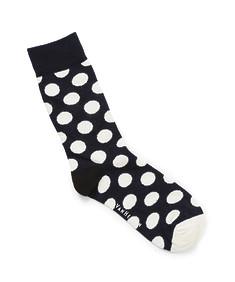 Men's Socks Navy with White Spots and Black Heel